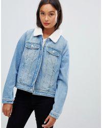 Pimkie Borg Collar Denim Jacket In Blue