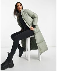 Threadbare Longline Puffer Coat-green