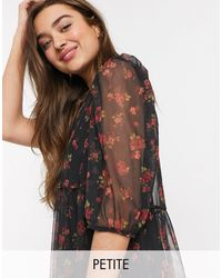 New Look Floral Mesh Puff Sleeve Dress - Black