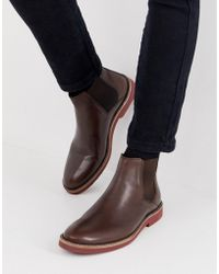 ASOS Chelsea Boots In Brown Leather With Contrast Sole