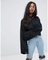 The Ragged Priest Oversized Sweatshirt With Choker Ring And Wide Sleeves - Black