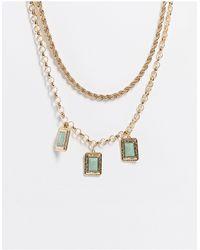 TOPSHOP Square Set Green Stone Multirow Necklace - Metallic