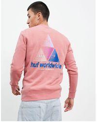 Huf Sweat-shirt à imprimé prisme au dos - Rose
