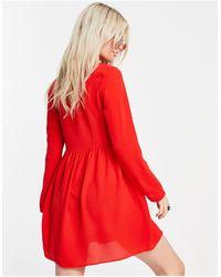 ASOS Vestido camisero corto rojo amplio