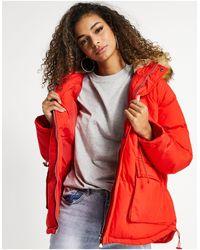 The Couture Club Abrigo rojo con capucha con ribete