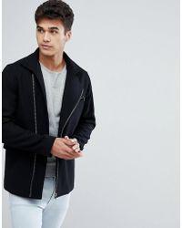 Jack & Jones - Premium Wool Mix Coat With Zips - Lyst
