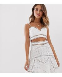 White Sand Cutwork Lace Crop Top In White