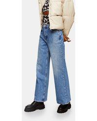 TOPSHOP Slim Wide Leg Jeans - Blue
