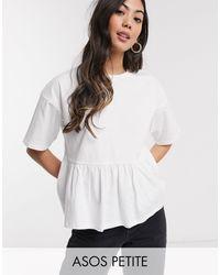 ASOS Top amplio de estilo casual de ASOS DESIGN Petite - Blanco