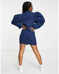 Missguided - Синее Джинсовое Платье-рубашка С Длинными Пышными Рукавами -голубой - Lyst