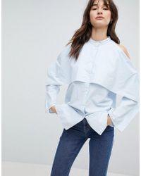 Weekday - High Neck Open Detail Shirt - Lyst