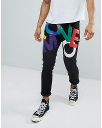 Love Moschino Cropped Slim Fit Jeans With Print - Black