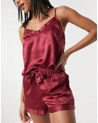 New Look Satin Cami Shorts Set - Purple