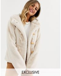 Urban Bliss Faux Fur Duffle Jacket With Hood-beige - Natural