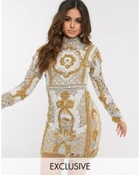 A Star Is Born Exclusive High Neck Embellished Mini Dress - Multicolour