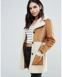 Glamorous Faux Shearling Coat - Brown