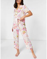 Lindex Пижамные Брюки Из Экологичной Вискозы С Принтом Пионов -многоцветный - Розовый