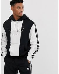 adidas Originals Sudadera blanca con capucha con rayas y logo central - Blanco