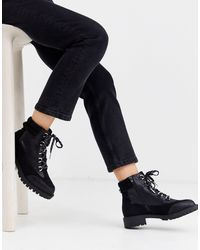 River Island Lace Up Flat Hiker Boot - Black
