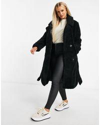 NA-KD Черное Длинное Пальто Из Искусственного Меха -черный