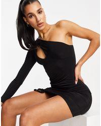 Club L London Vestido corto asimétrico con diseño fruncido y abertura en el escote - Negro