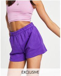 Weekday Kama Exclusive Organic Blend Cotton Pull- On Shorts - Purple