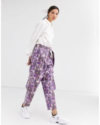ASOS Purple Snake Leather Look Utility Pant