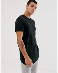 Jack & Jones Originals Longline Curved Hem T-shirt - Black