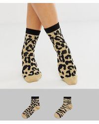 ASOS 2 Pack Glitter Leopard And Zebra Socks - Multicolour