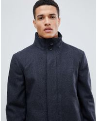French Connection Wool Blend Funnel Neck Coat - Gray