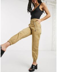 Bershka Cuffed Utlity Trousers With Chain - Brown