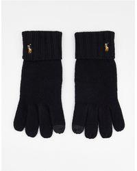 Polo Ralph Lauren Wollen Handschoenen Met Touchscreen Tips En Pony-logo - Zwart