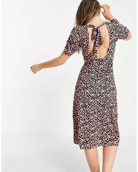 Miss Selfridge Платье Миди С V-образным Вырезом И Принтом В Розовый Горошек -розовый Цвет