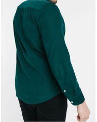 Farah Темно-зеленая Приталенная Рубашка Из Мелкофактурного Вельвета С Логотипом Fontella-зеленый