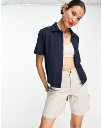 Object Knitted Polo Shirt Co-ord - Blue