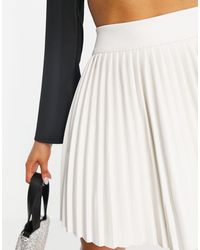 I Saw It First Leather Look Pleated Mini Skirt - White