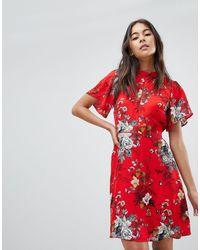 Oasis Vestido skater con estampado botánico y mangas estilo capa - Rojo
