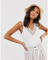 Stradivarius Lace Detail Top In White
