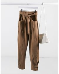 Y.A.S Tailored Pant With Tie Belt - Brown
