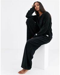 Calvin Klein Черные Бархатные Широкие Брюки В Рубчик -черный