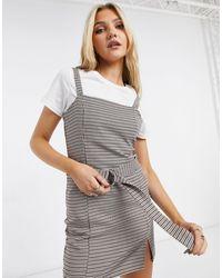 Pull&Bear Платье В Коричневую Клетку С Поясом И Разрезом На Подоле Pull & Bear-коричневый Цвет