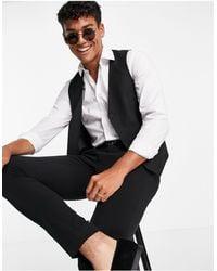 Original Penguin Slim Fit Plain Waistcoat - Black