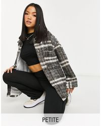 Missguided Check Shacket - Brown