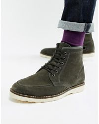 ASOS - Lace Up Boots In Gray Suede With White Wedge Sole - Lyst