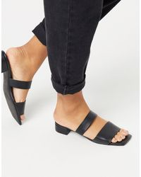 Monki Julie Square Toe Double Strap Pu Sandals - Black