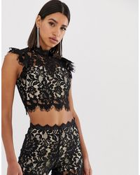 Love Triangle Eyelash Lace Crop Top Co Ord With Flutter Sleeve - Black