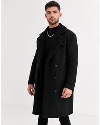 ASOS Wool Mix Overcoat With Quilted Lining - Black