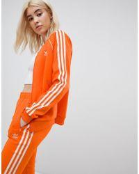 adidas Originals - Three Stripe Track Jacket In Orange - Lyst