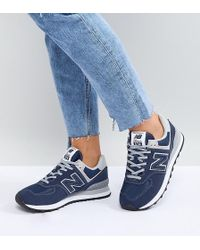 New Balance - 574 Suede Trainers In Navy - Lyst
