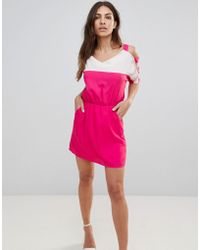 Urban Bliss - Colour Block Dress With Cut-out Sleeves - Lyst
